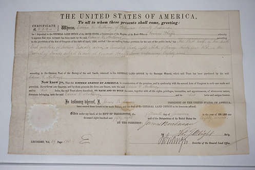 1858 LAND GRANT FOR EDWIN C. ANTHONY OF DELAWARE COUNTY INDIANA. SIGNED BY PRESI