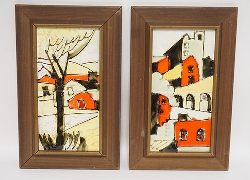 PAIR OF FRAMED TILE IMAGES BY HARRIS G. STRONG. 15 3/4 X 10 INCH FRAMES.