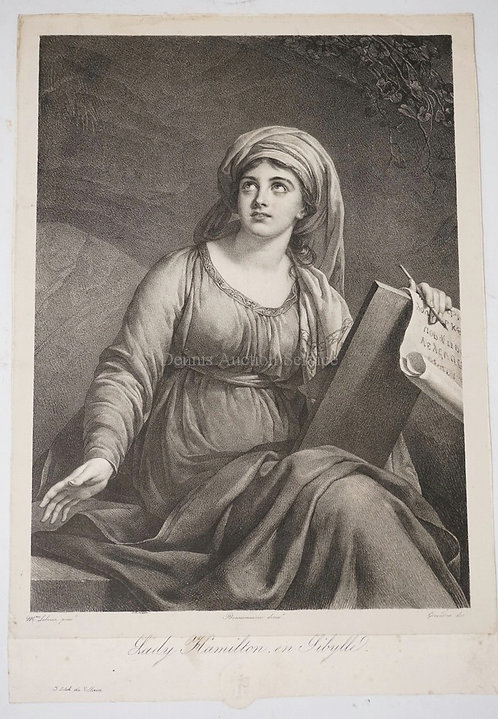LITHOGRAPH BY VILLAIN AFTER LEBRUN OF *LADY HAMILTON EN SIBYLLE*. WATERMARKED AT