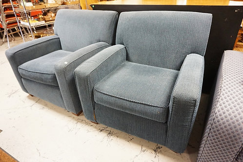 PAIR OF BAUHAUS, USA UPHOLSTERED ARM CHAIRS. 35 1/2 IN WIDE. 34 IN H,