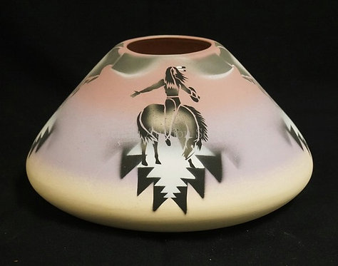 POTTERY VASE WITH A NATIVE AMERICAN INDIAN MOTIF. SIGNED *F. WARREN*