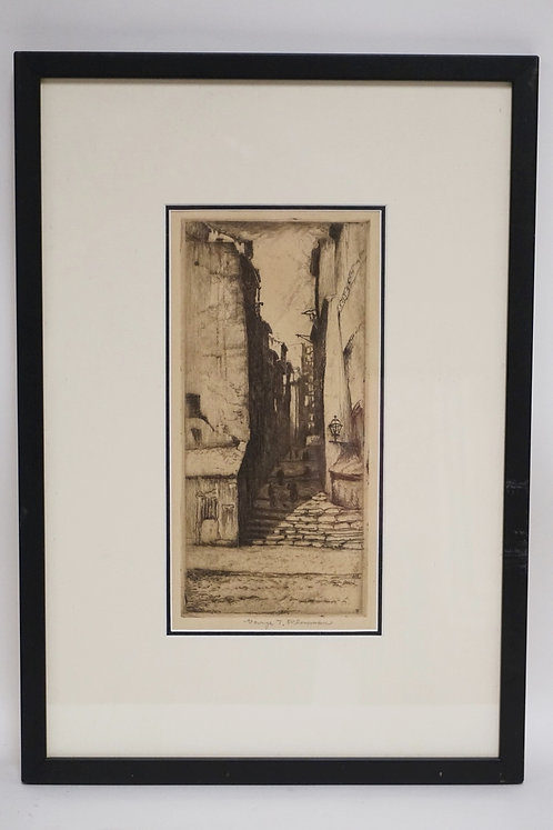 GEORGE PLOWMAN (1869-1932) ETCHING OF A CONTINENTAL TOWN STREET WITH BUILDINGS.