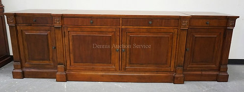 ETHAN ALLEN CHERRY 3 SECTION ENTERTAINMENT CABINET. 112 INCHES LONG. 34 1/2 INCH