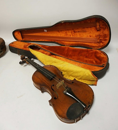 VIOLIN WITH CASE. HAS LABEL *REPAIRED AND IMPROVED BY AUGUST GEMUNDER & SONS, NE