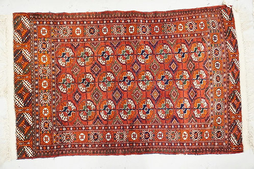 ORIENTAL THROW RUG MEASURING 3 FT 4 INCHES X 4 FT 11 INCHES.
