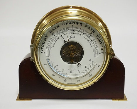 SCHATZ BRASS WEATHER STATION . 7 1/8 INCH DIA. 7 3/8 INCHES HIGH AND 9 INCHES WI