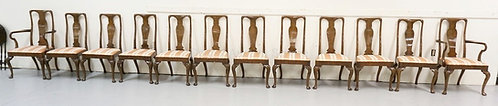 SET OF 12 CARVED VASE BACK DINING CHAIRS WITH SLIP SEATS. 39 3/4 INCHES HIGH.