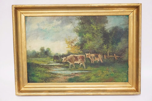 OIL PAINTING ON BOARD OF A LANDSCAPE WITH COWS. 18 X 12 INCH SIGHT SIZE.