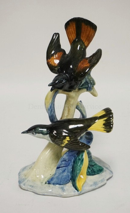 STANGLE POTTERY #3490 DOUBLE REDSTARTS FIGURE. 9 INCHES HIGH.