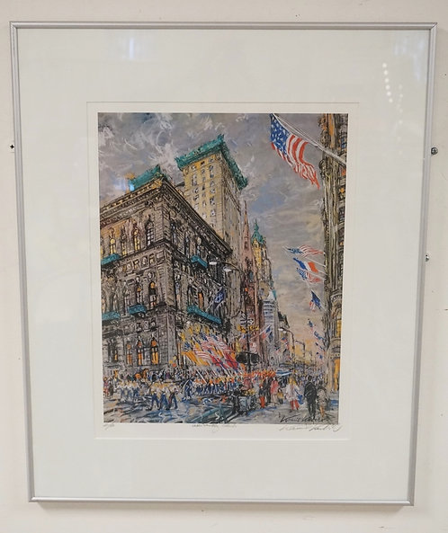 KAMIL KUBIK ARTISTS PROOF PRINT OF A NEW YORK CITY PARADE SCENE. PENCIL SIGNED A