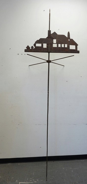 ANTIQUE WEATHERVANE IN THE FORM OF A COTTAGE. NO DIRECTIONALS. 9 FT 4 INCHES HIG