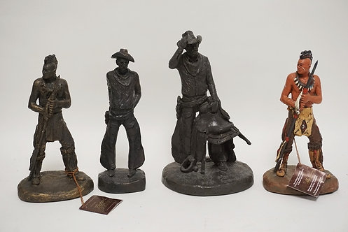 LOT OF 4 MICHAEL GARMAN SCULPTURES. CERAMIC. TALLEST IS 10 1/2 INCHES HIGH. SOME