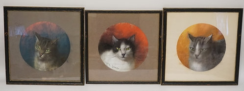 1178_LOT OF 3 PASTEL DRAWINGS OF CATS. EACH IMAGE MEASURING 9 1/2 INCHES IN DIA.