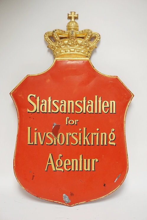 PAINTED METAL SIGN IN THE FORM OF A CROWNED SHIELD WITH LETTERING READING *STATS