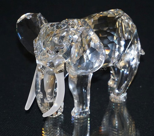 1018_SWAROVSKI CRYSTAL ELEPHANT FIGURE MEASURING 3 3/8 INCHES HIGH.