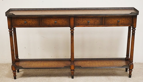 THEODORE ALEXANDER SOFA TABLE WITH 4 DRAWERS AMD A TEXTURED LEATHER TOP. BRONZE