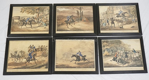 SET OF 6 PRINTS WITH SCENES PERTAINING TO HIGHWAYMAN DICK TURPIN. 18 X 15 INCH F
