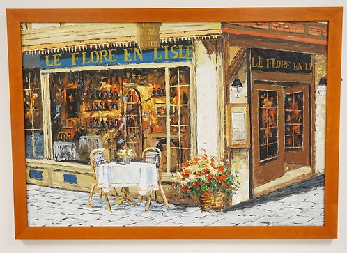 OIL PAINTING ON CANVAS OF *LE FLORE EN L'ISLE* A FRENCH RESTAURANT. 36 X 24 1/2