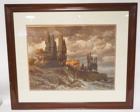 HERMANN RUISUHLI MUCHEN PRINT OF A STRUCTURE ON A ROCKY SHORELINE WITH WAVES CRA