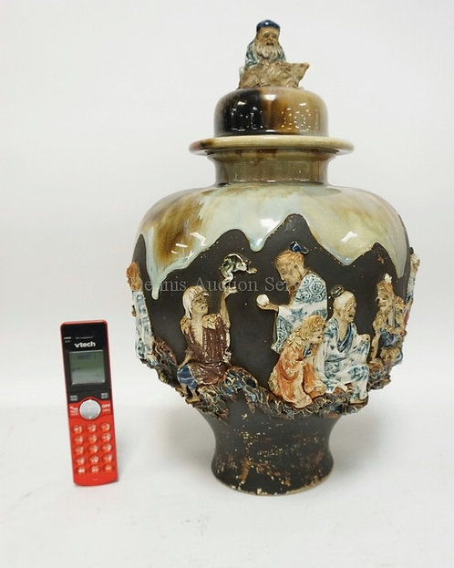 ASIAN COVERED URN WITH RELIEF FIGURES ALL THE WAY AROUND, FAMILIES AND PEOPLE WO