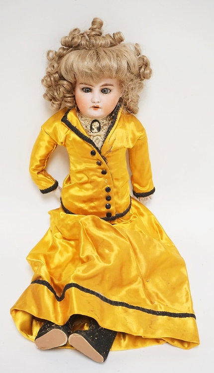 ARMAND MARSEILLE BISQUE HEADED DOLL MARKED *LILLY*. 22 1/2 INCHES HIGH.