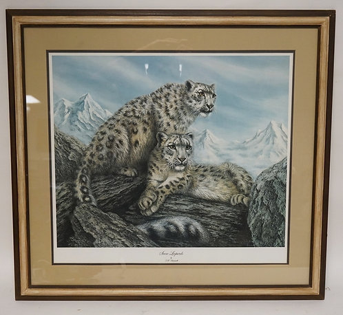 J. K. FARNWORTH SIGNED AND NUMBERED LIMITED EDITION PRINT TITLED *SNOW LEOPARDS*
