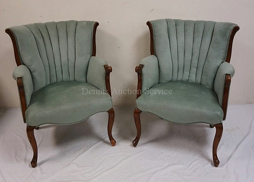PAIR OF UPHOLSTERED WING CHAIRS.