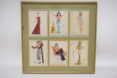 FRAMED GROUP OF 6 VINTAGE PIN-UPS. 17 1/4 X 16 3/4 INCHES.