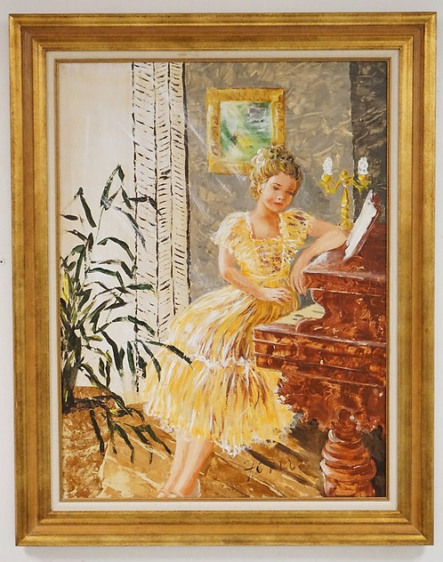 LARGE OIL PAINTING ON CANVAS OF A WOMAN SEATED AT A PIANO. 30 X 40 INCHES.