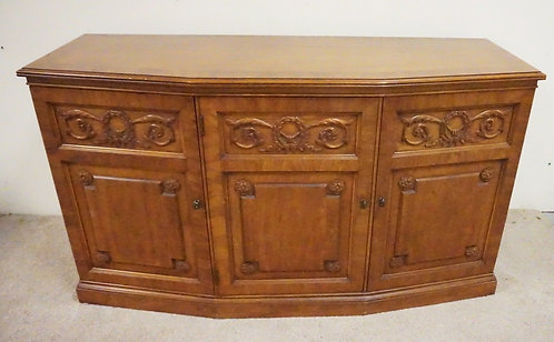 HENREDON CHERRY CREDENZA WITH 3 DOORS. RECESSED PANELS AND CARVED D�COR.