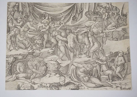NICOLAS BEATRIZET *BACCANALE DI PUTTI* AFTER MICHELANGELO, 1553. TRIMMED TO THE