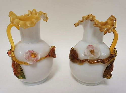 PAIR OF ART GLASS VASES, CASED WHITE OIVER AMBER WITH APPIED FLOWERS AND LEAVES