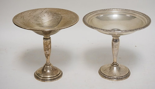 LOT OF TWO STERLING SILVER COMPOTES WITH WEIGHTED BASES. ONE BY TOWLE AND ONE BY