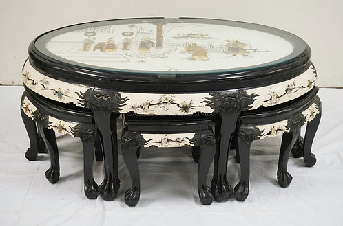 ASIAN LACQUERED AND CHINOISERIE DECORATED TABLE WITH 6 SEATS THAT FIT UNDERNEATH