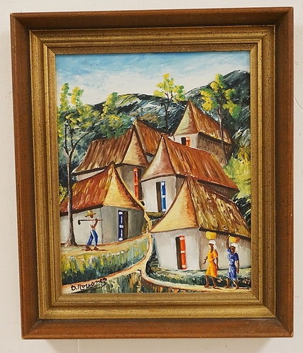 D. ROUANEZ (HAITIAN) PSINTING ON BOARD OF 5 HOUSES ON A HILL WITH FIGURES IN THE