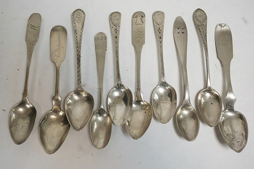 LOT OF 10 ANTIQUE COIN SILVER SPOONS. SOME WITH DECORATED HANDLES. INCLUDES DUPU