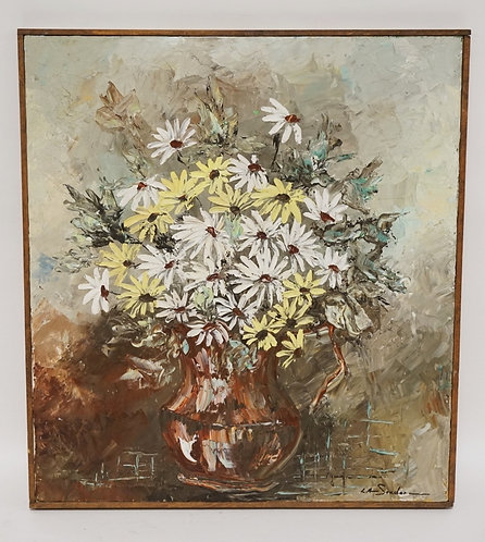 STILL LIFE OIL PAINTING ON CANVAS OF FLOWERS. SIGNED LOWER RIGHT L.A. SOUDER. 18