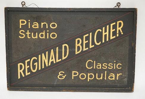 WOODEN SIGN *PIANO AND HARMONY, DORIS CAROL BELCHER, DEGREE GRADUATE OF JUILLIAR