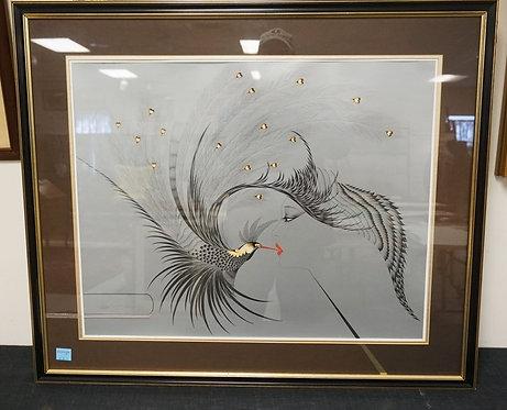 HISASI OTSUKE *THE KISS* LITHO. SIGNED LOWER LEFT. CUSTOM MATCHING MATTING. 36 X