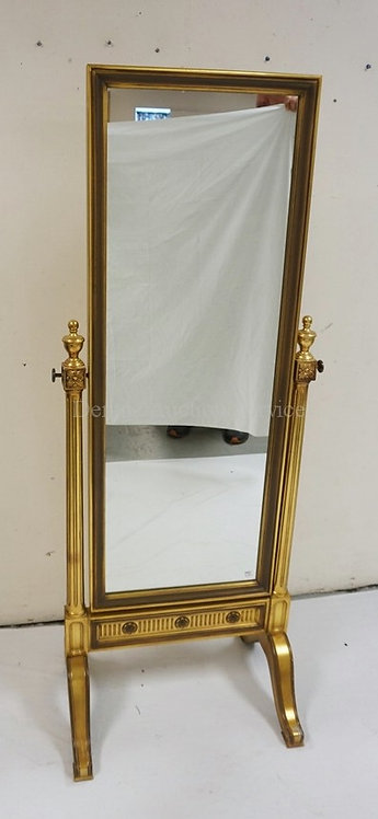 GOLD GILT CHEVAL MIRROR. 65 INCHES HIGH. 24 1/2 INCHES WIDE.