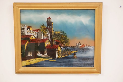 1036_REVERSE PAINTING ON GLASS TITLED *SCENE IN VENICE*. 19 1/2 X 15 1/2 INCH SI