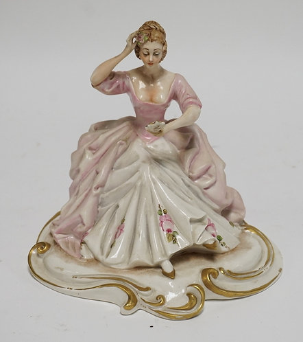 BORSATO ITALY PORCELAIN FIGURE OF A WOMAN IN A PINK AND WHITE DRESS. 7 1/2 INCHE