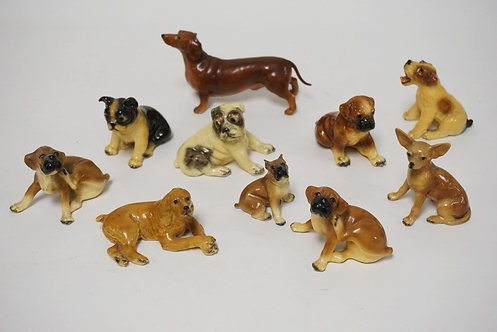 GROUP OF 10 MORTON STUDIO DOGS. TALLEST 3 3/8 IN