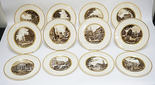 1010_SET OF 12 LENOX *THE OLD NEW YORK PLATES*. PAINTED MY MINGA P. PATCHIN 1933