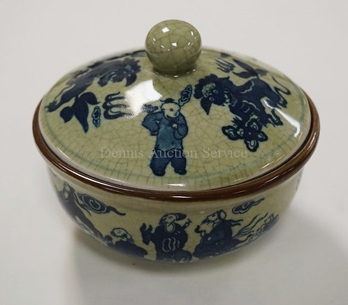 ASIAN COVERED DISH WITH BLUE DECORATION INCLUDING DRAGONS AND FIGURES. 5 1/4 INC