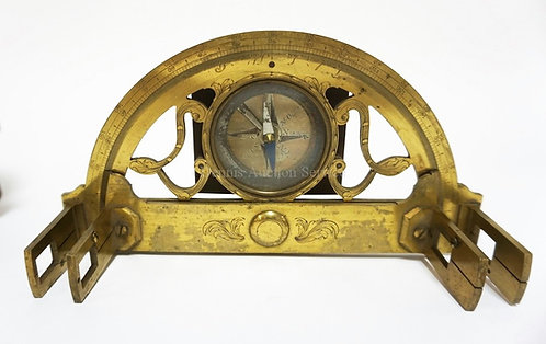 18TH C BRASS GRAPHOMETER IN ORIGINAL LEATHER CASE. MARKED *LENNEL A LA SPHERE A
