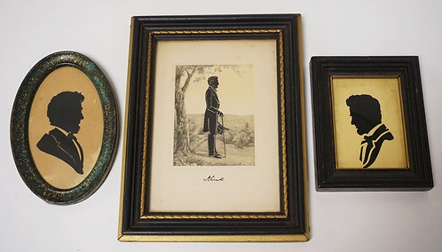 GROUP OF 3 ABRAHAM LINCOLN SILHOUETTES. LARGEST IMAGE MEASURES 3 X 4 INCHES.