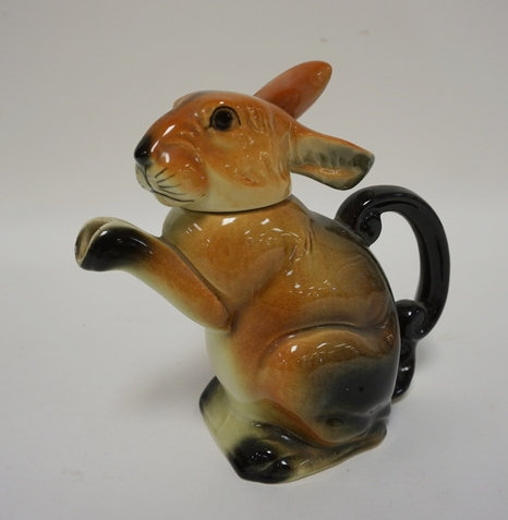 ERPHILA, GERMANY RABBIT TEA POT. 7 3/4 IN H