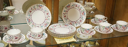 23 PIECE ROYAL WORCESTER *KASHMIR*. 8 CUPS, 8 SAUCERS, AND SEVEN 8 1/8 INCH PLAT