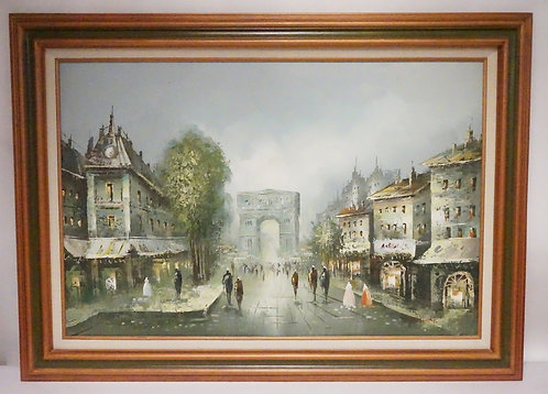 OIL PAINTING ON CANVAS OF A PARESIAN STREET SCENE. SIGNED *D. RICKY* LOWER RIGHT